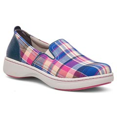 Dansko Belle Canvas Blue Madras Shoes