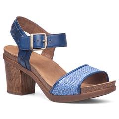 Dansko Debby Full Grain Lth/Raffia Cobalt Sandals