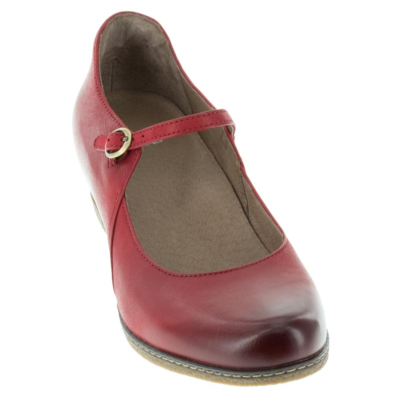 Dansko Loralie Red Nubuck front right shoe