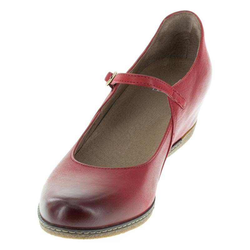 Dansko Loralie Red Nubuck left side front right shoe