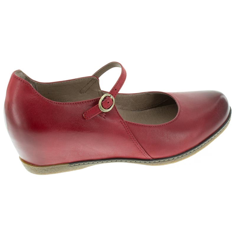 Dansko Loralie Red Nubuck right side right shoe