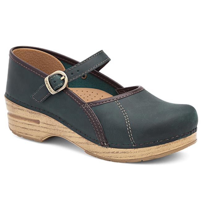 Dansko Marcelle Leather Teal Clogs