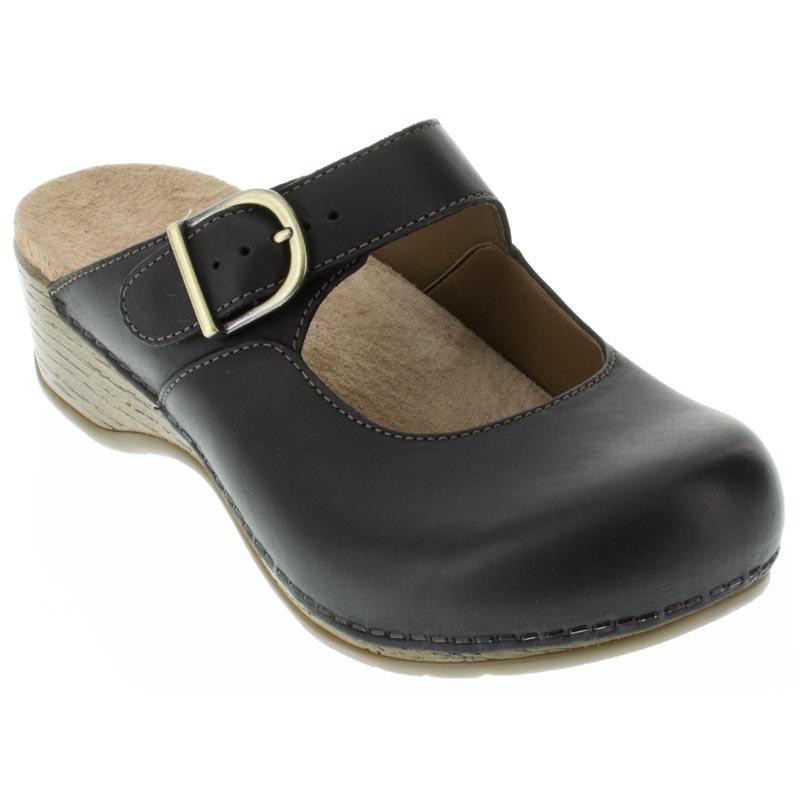 e439d57e56 Dansko Martina Oiled Leather Black Clogs - HappyFeet.com