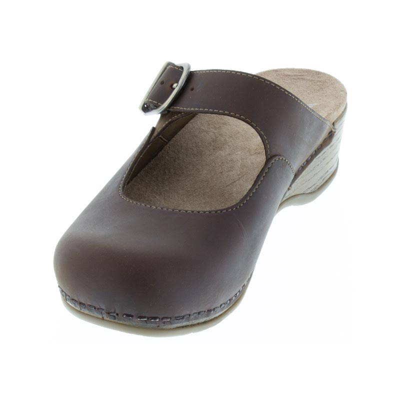 Dansko Martina Antique Brown Oiled Leather left side front right shoe
