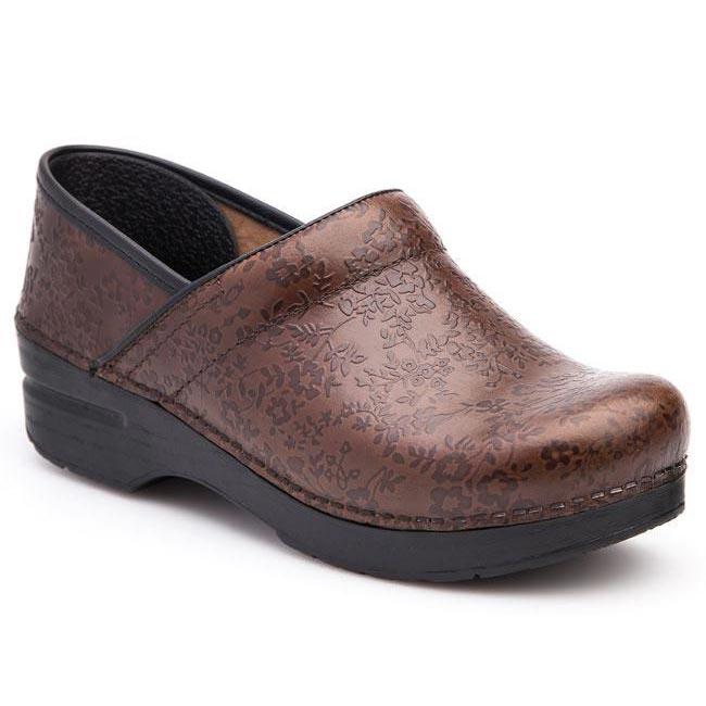 Dansko Professional Brown Floral Clogs