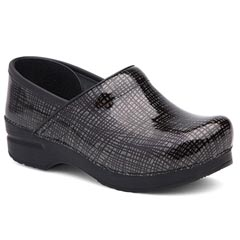 Dansko Professional Patent Leather Silver Black Clogs