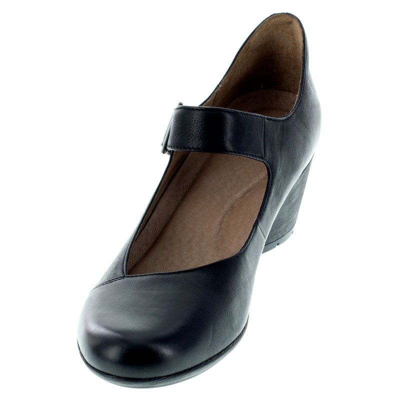 Dansko Roxanne Black Nubuck Shoes left front view