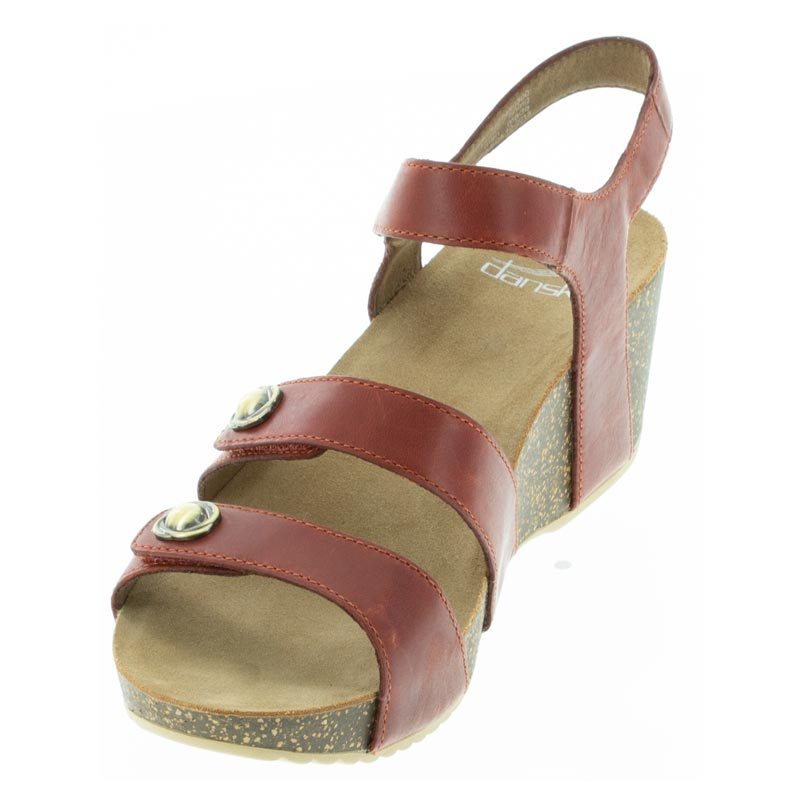 Dansko Savannah Coral Leather sandal left front view