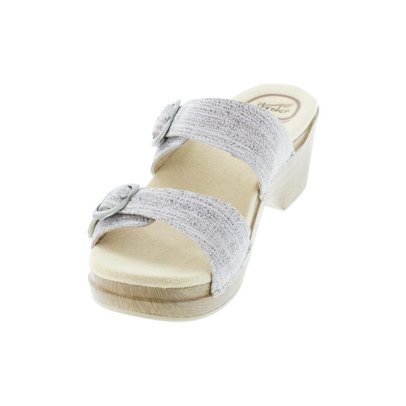 Dansko Sophie Ivory Metallic Leather Sandals left front view
