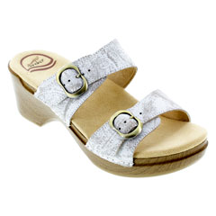 Dansko Sophie White Distressed Sandals