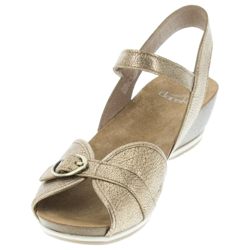 Dansko Vanna Gold Leather left side front right shoe