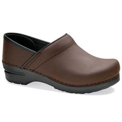Dansko Wide Pro Oiled Leather Antique Brown Clogs