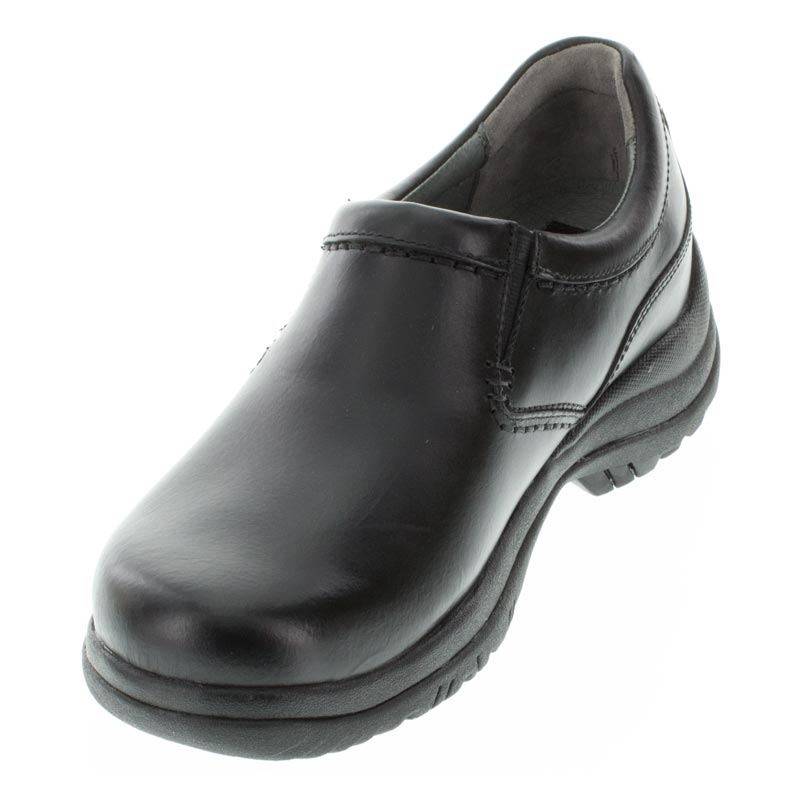 Dansko Wynn Black Leather Slip-Resistant left side front right shoe