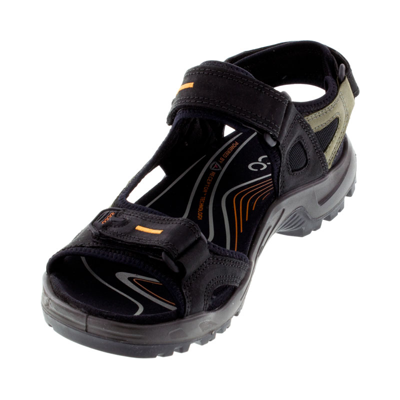 Ecco Yucatan Black Nubuck Sandals left front view