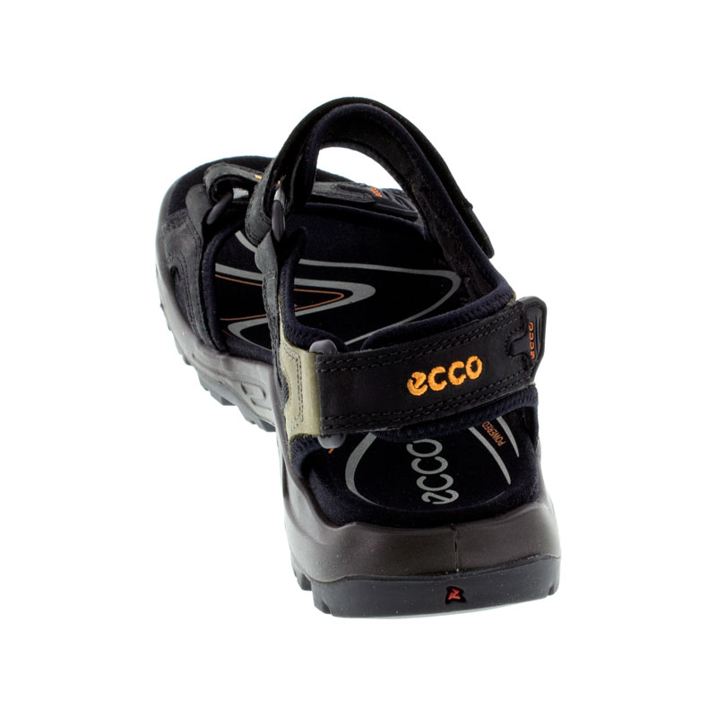 Ecco Yucatan Black Nubuck Sandals back view