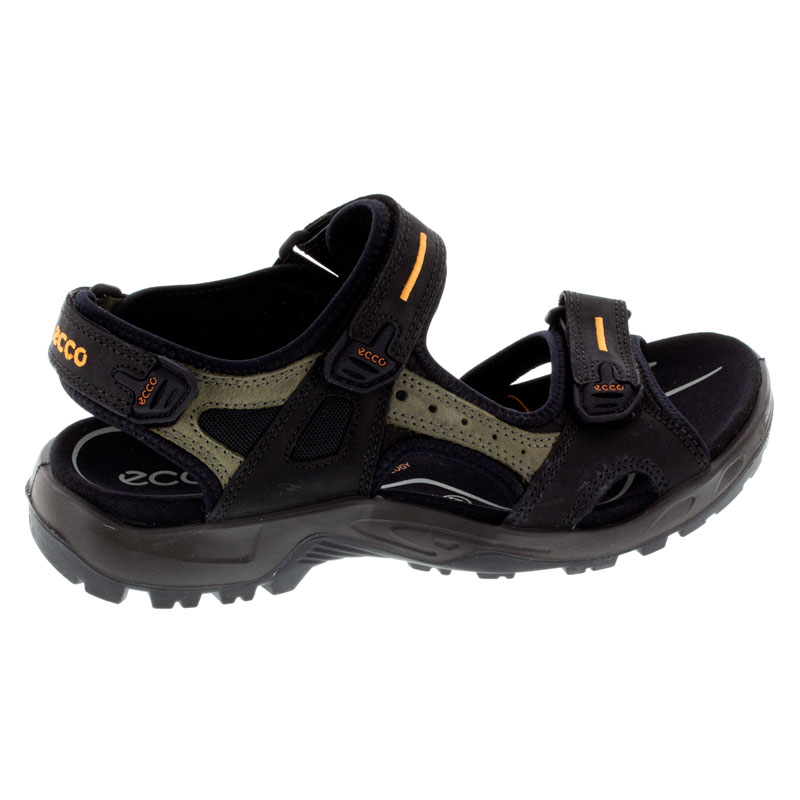 Ecco Yucatan Black Nubuck Sandals right side view