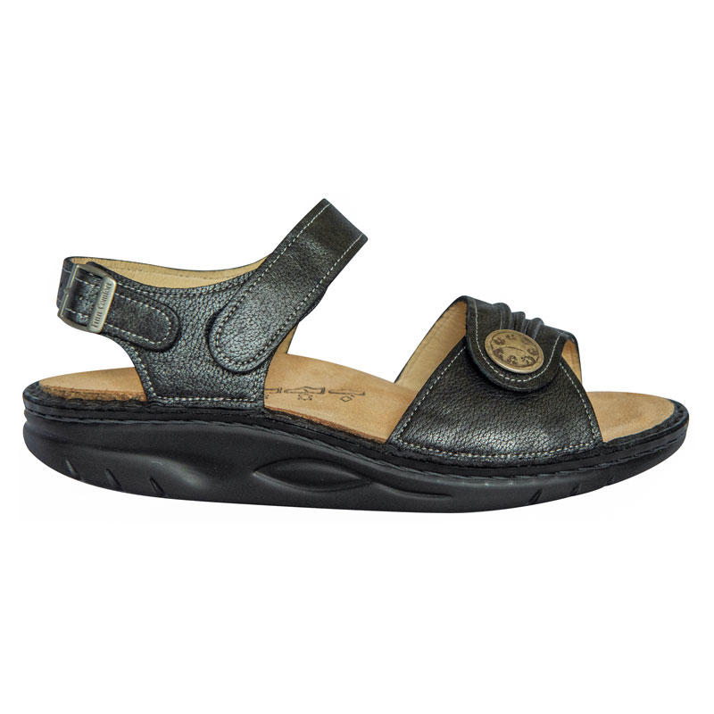 Finn Comfort Sausalito Nerosilver Leather Soft Footbed 42