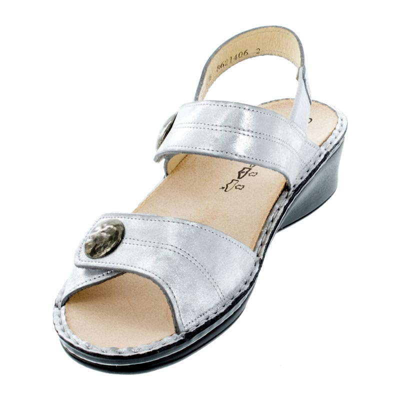 Finn Comfort Alanya Argento Leather sandals left front view
