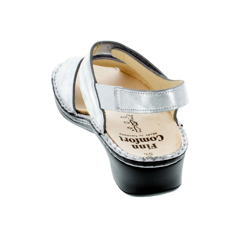 Finn Comfort Alanya Argento Leather sandals back view