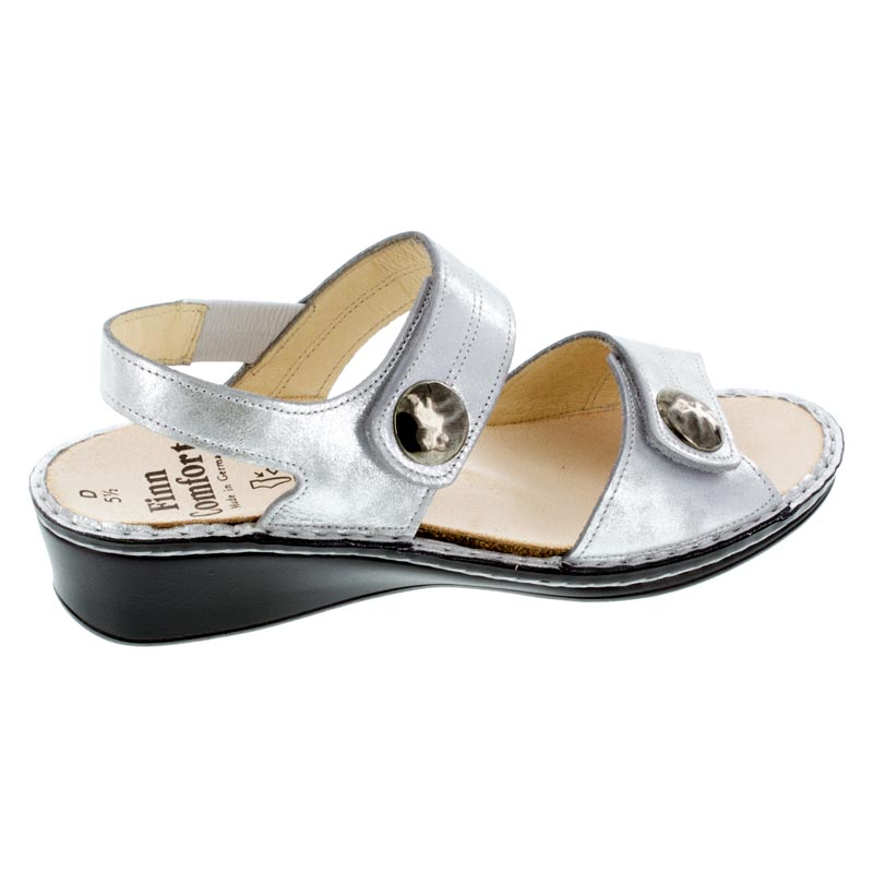 Finn Comfort Alanya Argento Leather sandals right side view