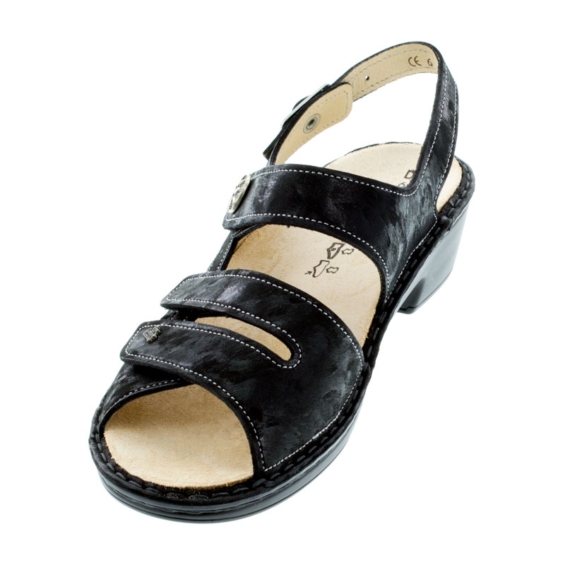 Finn Comfort Aversa Nero Leather Sandals left front view