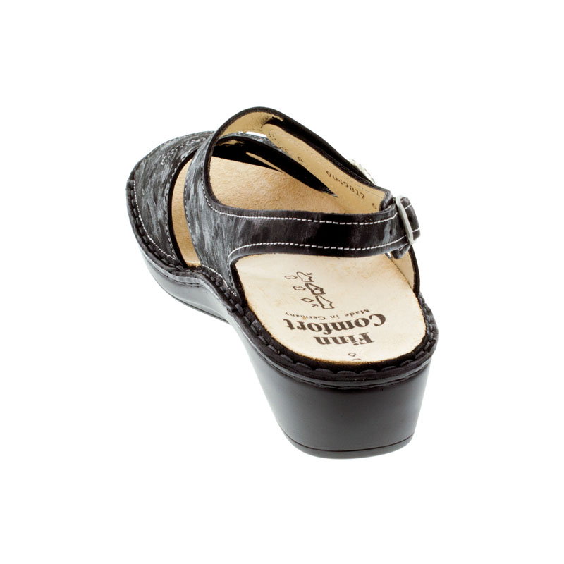 Finn Comfort Aversa Nero Leather Sandals back view