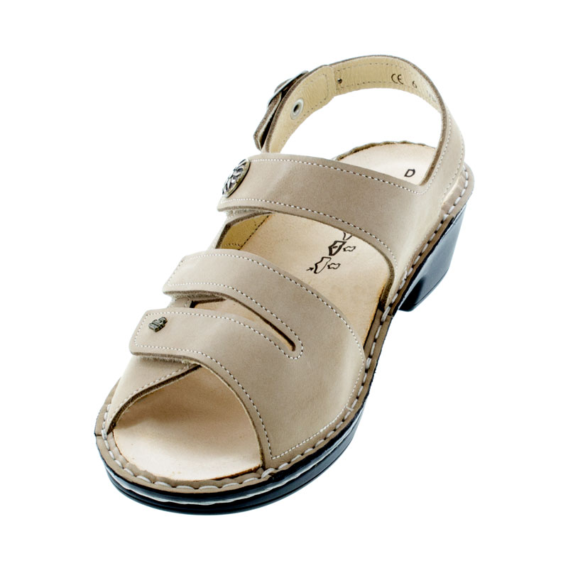 Finn Comfort Aversa Ecru Leather Soft Footbed Sandals left front view