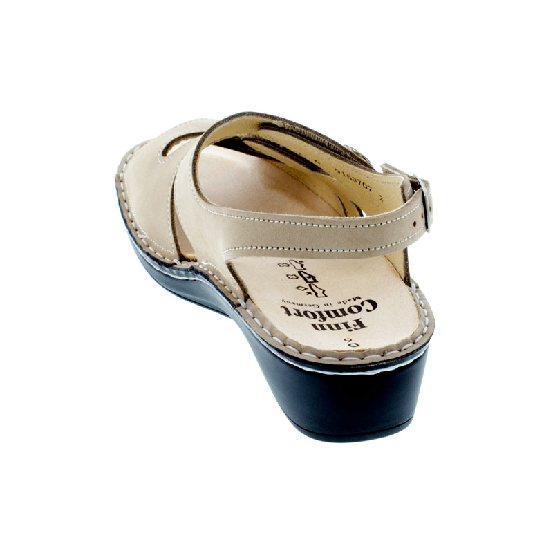 Finn Comfort Aversa Ecru Leather Soft Footbed Sandals back view