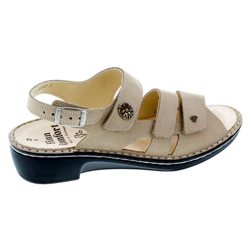 Finn Comfort Aversa Ecru Leather Soft Footbed Sandals right side view
