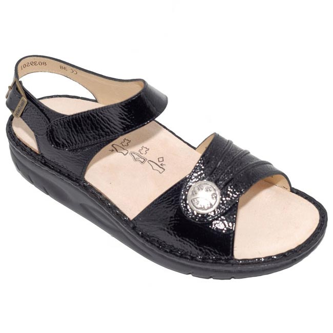 Finn Comfort Sausalito Patent Leather Soft Black