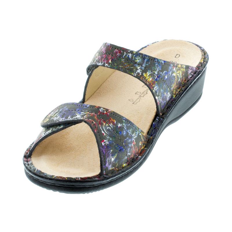 Finn Comfort Catalina Garden Leather Soft Footbed Sandals left front view