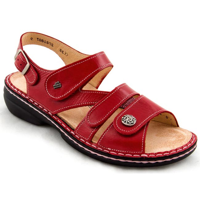 Finn Comfort Gomera Leather Soft Footbed Red