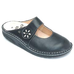 Finn Comfort Side Leather Black/Silver