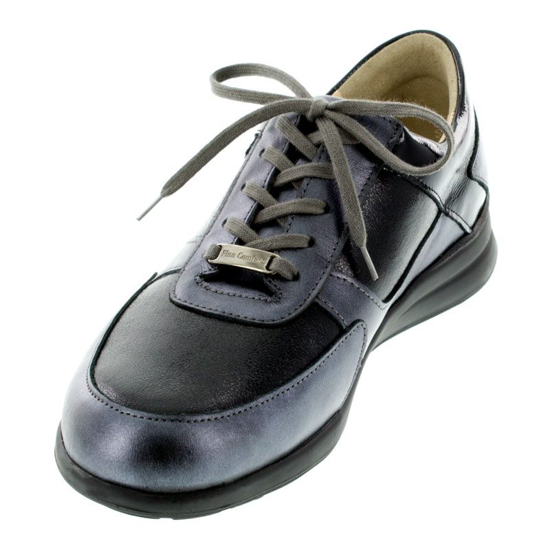 Finn Comfort Corato Black Leather Soft Footbed Shoes left front view