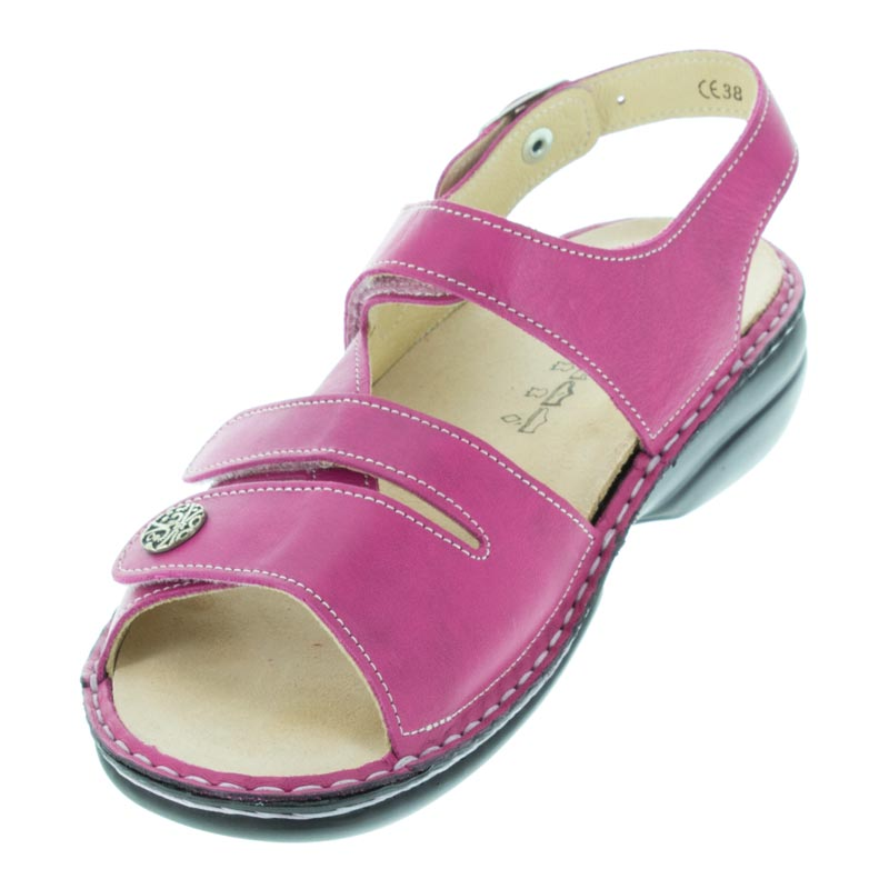 Finn Comfort Gomera Magenta Leather Soft Footbed left front view