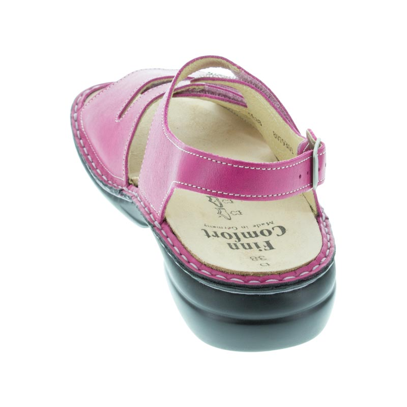 Finn Comfort Gomera Magenta Leather Soft Footbed back view