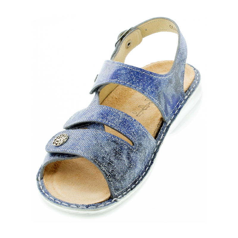 Finn Comfort Gomera Hippie Jeans Leather Soft Footbed Sandals left front view