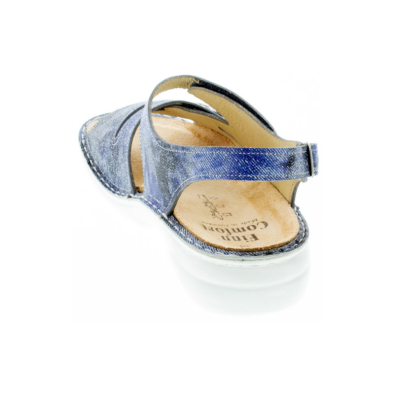 Finn Comfort Gomera Hippie Jeans Leather Soft Footbed Sandals back view
