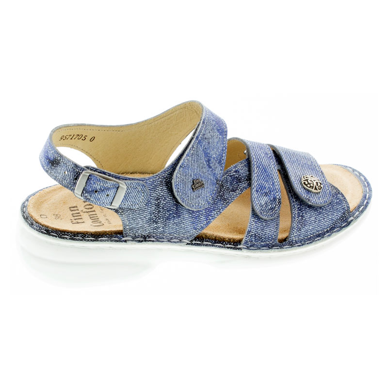 Finn Comfort Gomera Hippie Jeans Leather Soft Footbed Sandals right side view