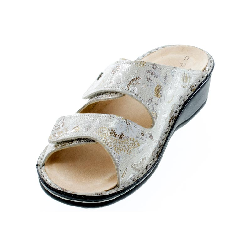 Finn Comfort Jamaica Sand Fleur Leather Soft Footbed Sandals left front view