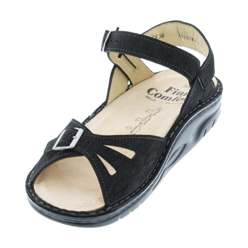 Finn Comfort Motomachi Black Waving Leather Soft Footbed left front view