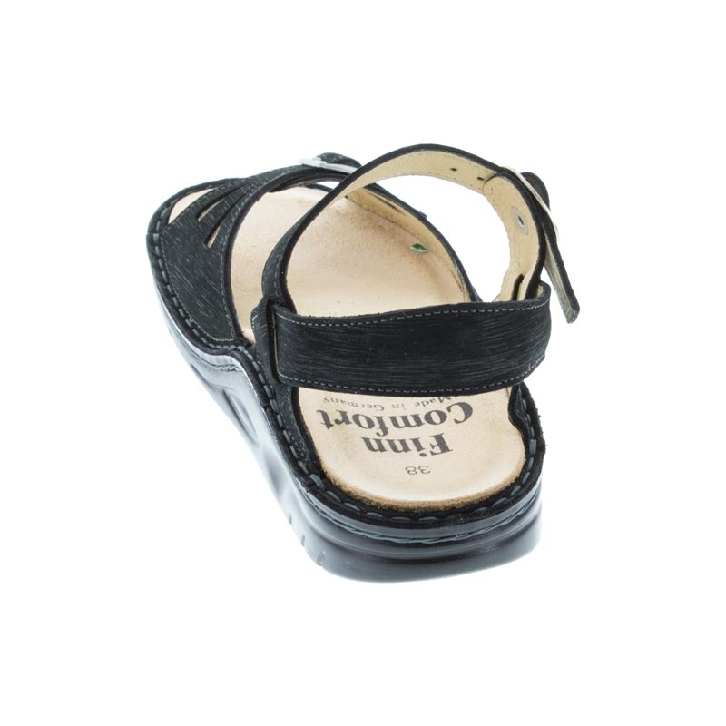 Finn Comfort Motomachi Black Waving Leather Soft Footbed back view