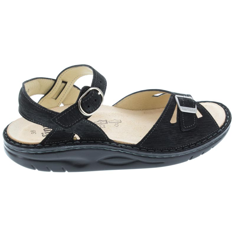Finn Comfort Motomachi Black Waving Leather Soft Footbed right side view