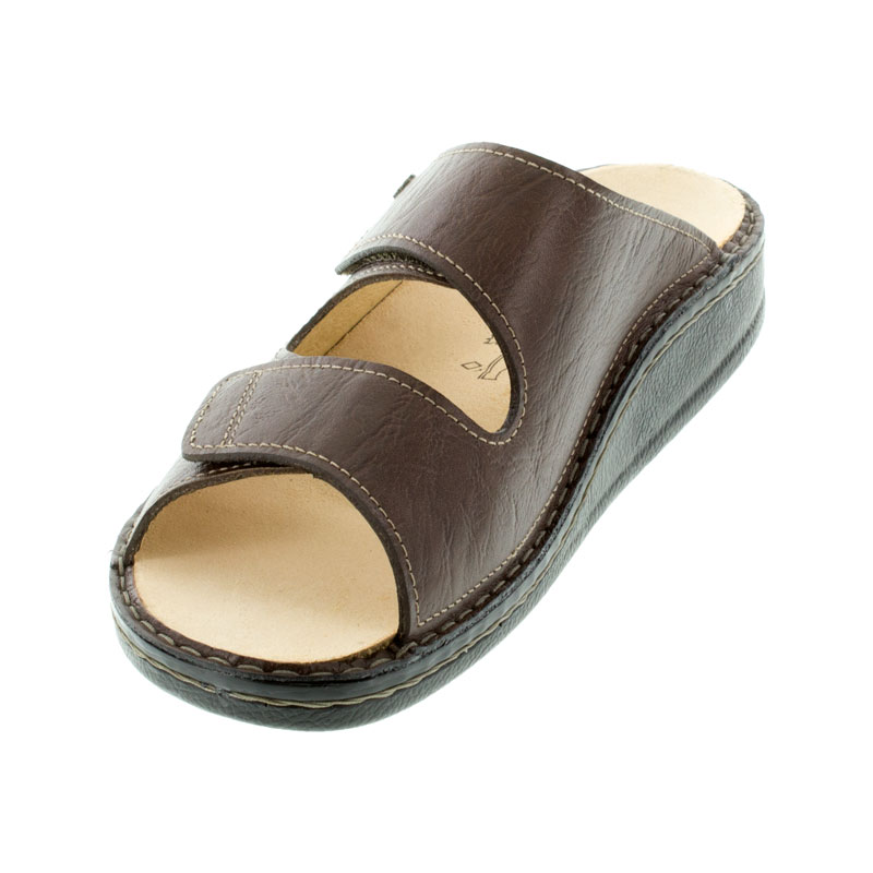 Finn Comfort Riad Brown Leather Sandals left front view