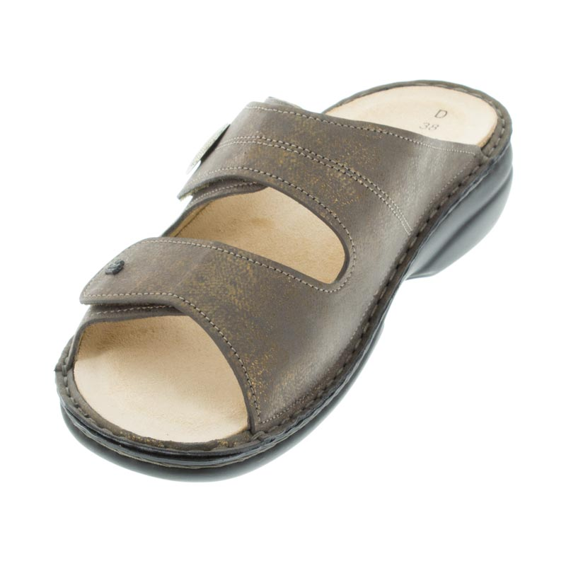 Finn Comfort Sansibar Bronze Leather Soft Footbed left front view