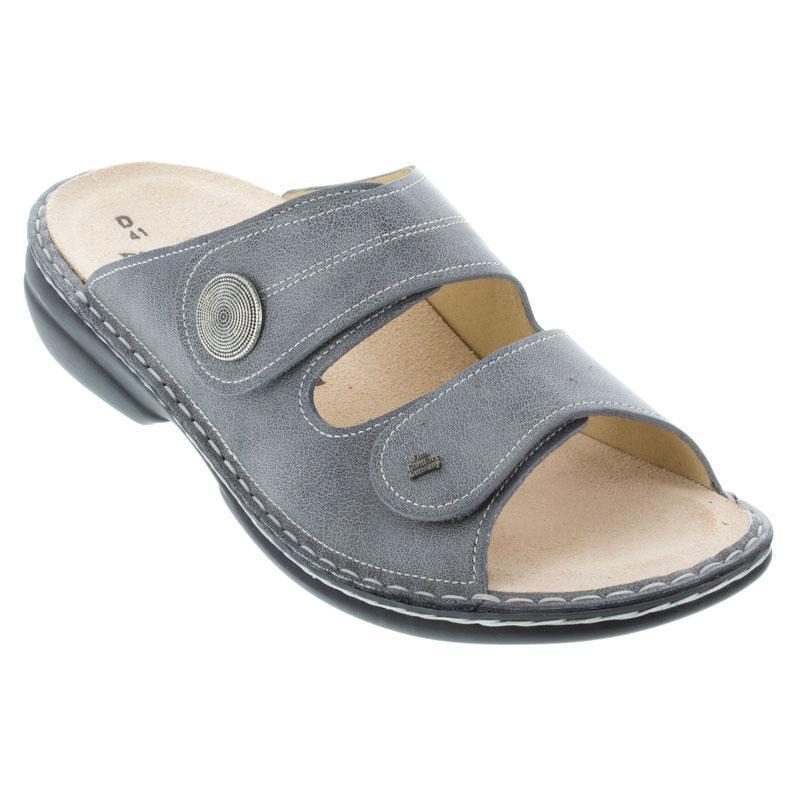 Finn Comfort Sansibar Leather Soft Footbed Grey Sandals