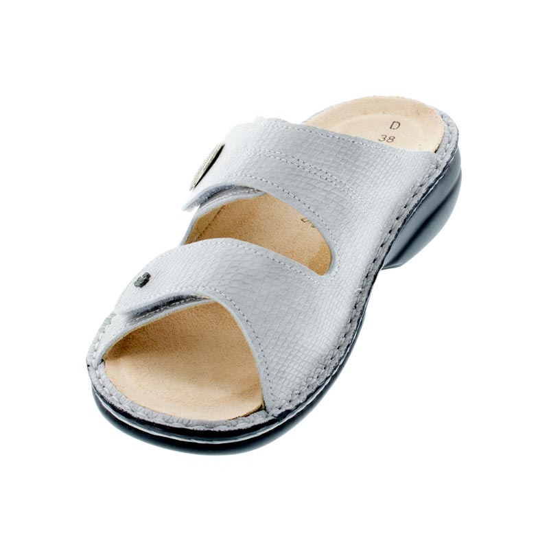 Finn Comfort Sansibar Silver Leather Soft Footbed Sandals left front view