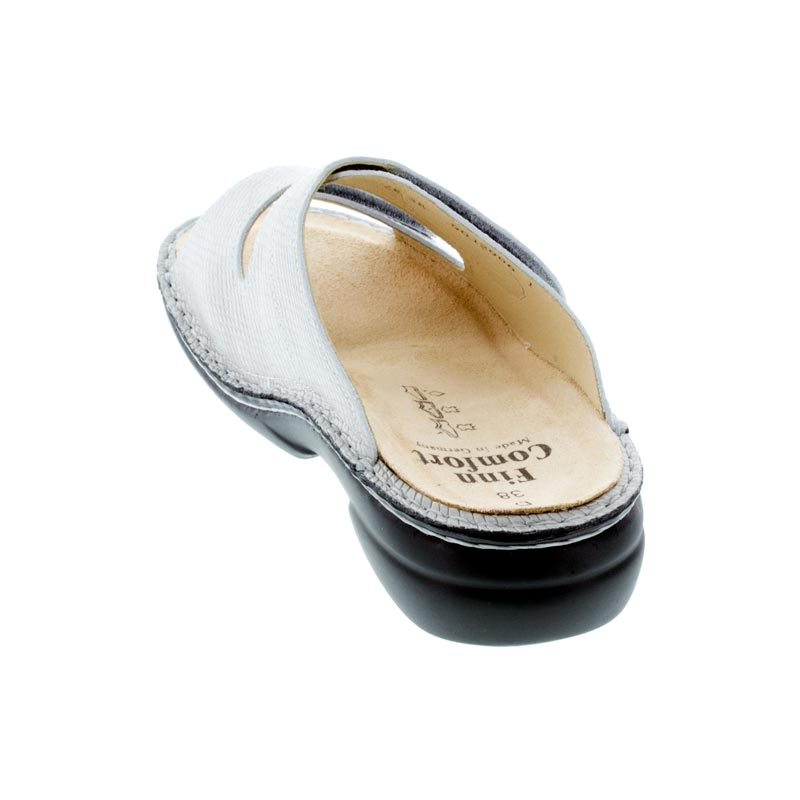 Finn Comfort Sansibar Silver Leather Soft Footbed Sandals back view