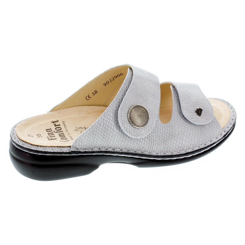 Finn Comfort Sansibar Silver Leather Soft Footbed Sandals right side view