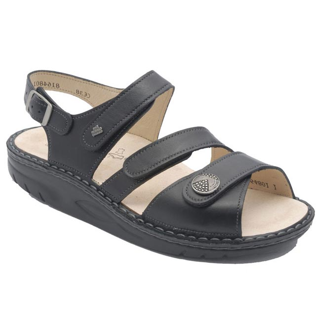 Finn Comfort Tiberias Leather Soft Footbed Black